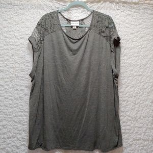 Gray Blouse with floral lace